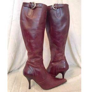 ZARA ~ High Heel Boot Distressed Brown Leather